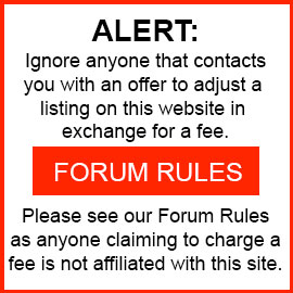 ALERT: Ignore anyone that contacts you with an offer to adjust a listing on this website in exchange for a fee.