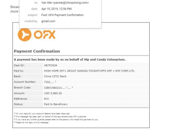 OFX Payment Confirmation
