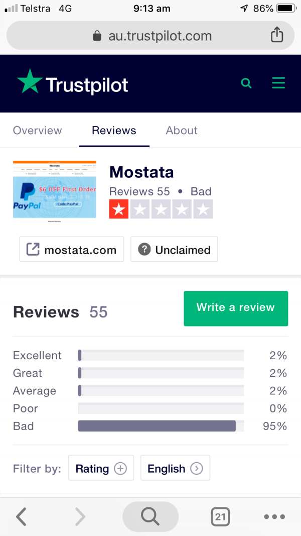 Are you performing due diligence on Mostata from China who sells Clothing?